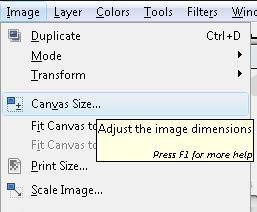 how to change size of paper in gimp